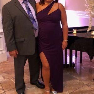 Purple high slit long gown one shoulder